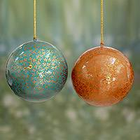 Large papier mache ornaments, 'Golden Holiday' (pair) - Unique Handmade Christmas Ornaments with Bird Motif (pair)