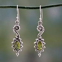 Peridot dangle earrings, 'Sea's Mystery' - Seahorse Shaped Peridot and Sterling Silver Earrings