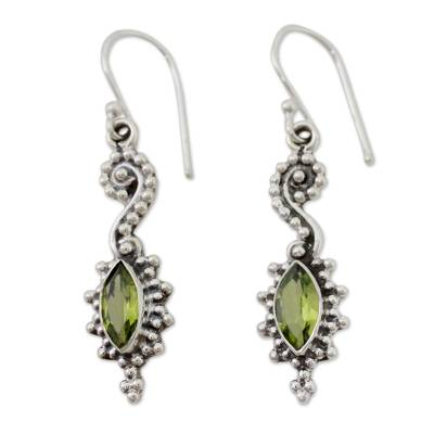 Seahorse Shaped Peridot and Sterling Silver Earrings
