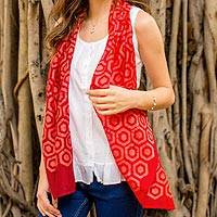 Cotton and silk blend batik scarf, 'Geometric Appeal' - Artisan Crafted Red Batik Scarf with Hexagonal Pattern
