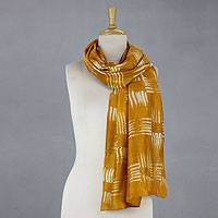 Cotton and silk blend batik scarf, 'Tribal Weave' - Woven Golden Cotton Silk Blend Batik Scarf from India