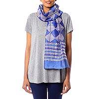 Cotton and silk blend batik scarf, 'Mesmerizing Diamonds' - Women's Blue and White Batik Print Scarf in Cotton/Silk