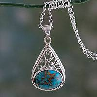 Sterling silver pendant necklace, 'Divine Sky' - Sterling Silver and Composite Turquoise Pendant Necklace