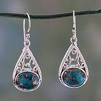 Sterling silver dangle earrings, 'Divine Sky' - Handcrafted Sterling and Composite Turquoise Dangle Earrings