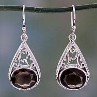 Smoky quartz dangle earrings, 'Misty Romance' - Dangle Style Earrings with Smoky Quartz and 925 Silver