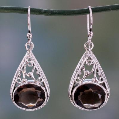 Smoky quartz dangle earrings, 'Misty Romance' - Dangle Style Earrings with Smoky Quartz and 925 Silver