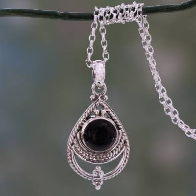 Onyx pendant necklace, 'Black Magic' - Pendant Necklace with Sterling Silver and Onyx Cabochon