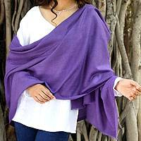 Wool shawl, 'Kashmiri Diamonds in Lavender' - Women's Lavender Hand Loomed All Wool Shawl
