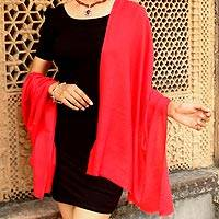 Wool shawl, 'Kashmiri Diamonds in Red' - Women's True Red 100% Wool Shawl Handmade in India