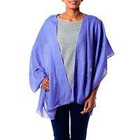 Wool shawl, 'Periwinkle Allure' - Hand Loomed 100% Wool Periwinkle Blue Wrap for Women