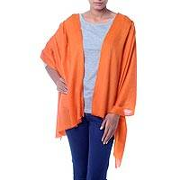 Wool shawl, 'Sunset Glamour' - Artisan Crafted Orange Paisley Jacquard Wool Wrap