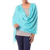 Wool shawl, 'Cyan Glamour' - All-Wool Sky Blue Women's Shawl Handwoven in India