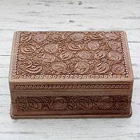Walnut wood jewelry box, 'Kashmir Grandeur' - Hand-carved Flowers on Walnut Wood Jewelry Box