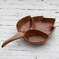Walnut wood catchall, 'Chinar I' - Walnut Wood Hand Carved Catchall Tray with 3 Compartments