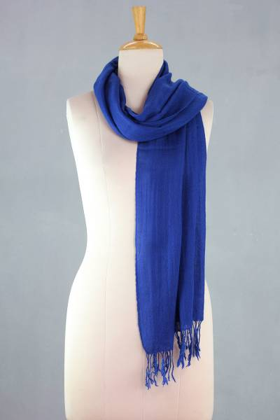 Wool scarf, 'Kashmiri Diamonds in Lapis' - Lapis Blue Diamond Patterned Woven Wool Scarf
