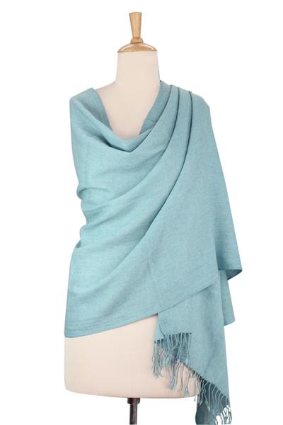 Wool shawl, 'Beguiling Sky' - Artisan Woven Light Sky Blue 100% Wool Shawl