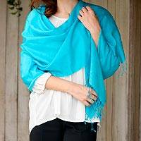 Silk and wool blend shawl, 'Turquoise Impression' - Woven Silk and Wool Blend Shawl in Solid Turquoise Blue