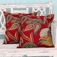 Applique cushion covers, 'Paisley Wine' (pair)