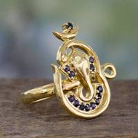 Gold vermeil and sapphire cocktail ring, 'Midnight Serenity' - Handcrafted 18k Gold Vermeil and Sapphire Ganesha Ring