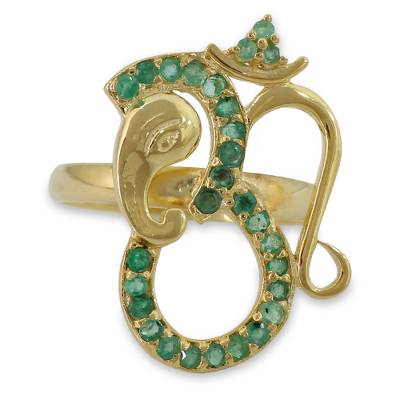 India Handcrafted Gold Vermeil Ganesha Ring with Emeralds
