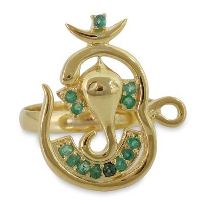 Emerald Ganesha Ring Handcrafted in 18k Gold Vermeil