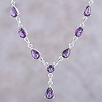 Amethyst Y necklace, 'Lilac Princess'