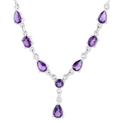 Amethyst Y necklace, 'Lilac Princess' - Artisan Crafted Amethyst and Sterling Silver Y Necklace