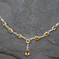 Citrine Y necklace, 'Golden Princess' - Fair Trade Handmade Citrine and 925 Silver Y Necklace