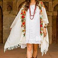 Embroidered wool kimono cape, 'Valley of the Flowers' - Ample White Wool Cape with Chain Stitch Floral Embroidery