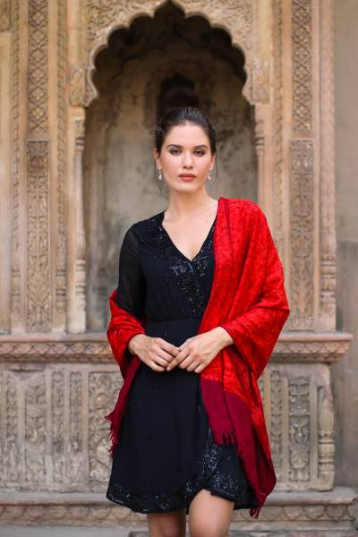 Wool shawl, 'Ruby Romance' - Red Embroidered 100% Wool Shawl from India