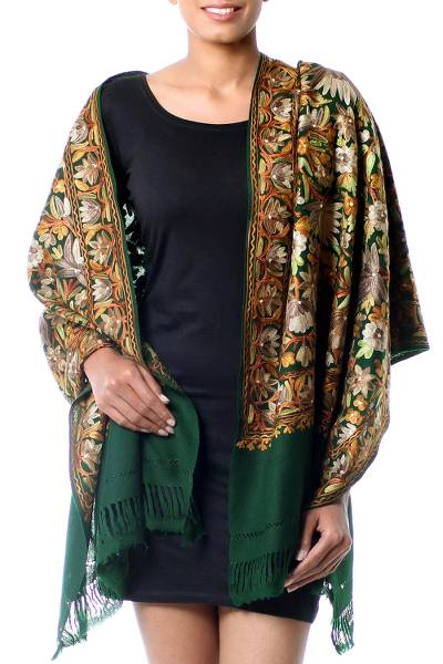 Wool shawl, 'Floral Forest' - Green Wool Shawl with Floral Chain Stitch Embroidery