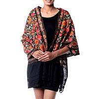Wool shawl, 'Midnight Marigold' - Free Trade Floral Chain Stitch Embroidery Black Wool Shawl