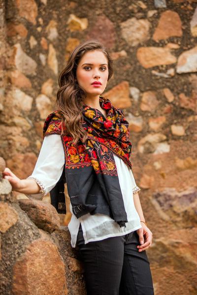 Wool shawl, 'Midnight Mums' - Artisan Made Floral Chain Stitch Embroidery Black Wool Shawl