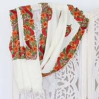 Wool shawl, 'Paisley Perfection' - Embroidered Paisley Wool Shawl from India