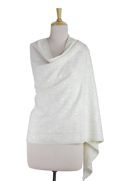Wool shawl, 'Pure Romance' - White on White Embroidered Wool Shawl from India