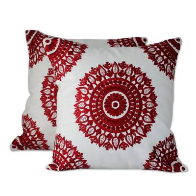 Embroidered Red on White Cushion Covers from India Pair Ruby