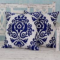 Cotton cushion covers, 'Sapphire Beauty' (pair) - White and Blue Embroidered Cotton Cushion Covers (Pair)
