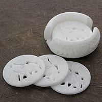 Marble coasters, 'Indian Elephant' (set of 6) - Artisan Crafted White Marble Coasters and Holder (Set of 6)