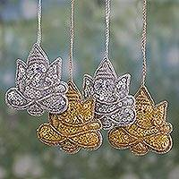 Beaded ornaments, 'Happy Ganesha' (set of 4) - 4 Glittery Handmade Ornaments Depicting Lord Ganesha