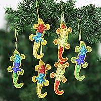 Embellished ornaments, 'Holiday Cheers' (set of 6) - Christmas Ornaments of Colorful Sequin Lizards (set of 6)