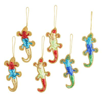 Embellished ornaments, 'Holiday Cheers' (set of 6) - Christmas Ornaments of colourful Sequin Lizards (set of 6)