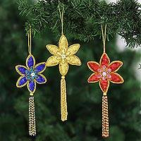 Beaded ornaments, 'Poinsettia' (set of 3) - Hand Beaded Multicolor Indian Ornament Set with Tassels