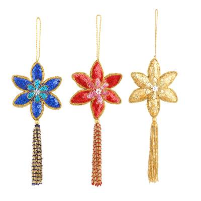 Beaded ornaments, 'Poinsettia' (set of 3) - Handmade Beaded Sequin Colorful Christmas Ornaments (3)