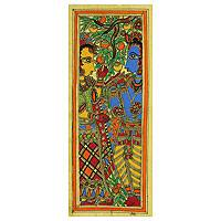 Madhubani painting, 'Celestial Couple II' - Signed Madhubani Krishna and Radha Painting