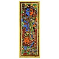 Madhubani painting, 'Ardhnareshwar' - Authentic India Madhubani Painting of Shiva and Parvati