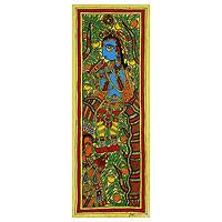 Madhubani painting, 'Song of Love' - Authentic India Madhubani Painting of Krishna and Radha