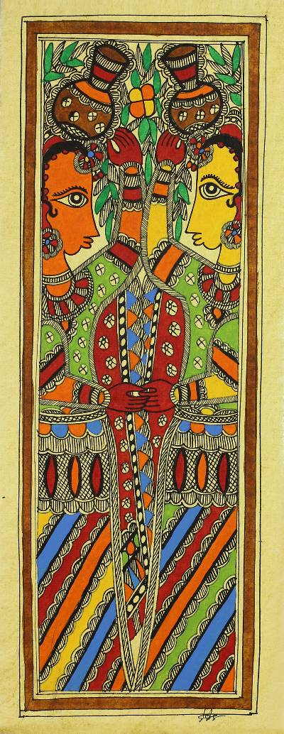 Authentic India Madhubani Folk Art Painting