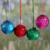 Embellished ornaments, 'Sparks of Christmas' (set of 4) - Hand Crafted Christmas Ornaments in Bright colours (Set of 4