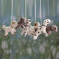 Wool ornaments, 'Barking Holiday' (set of 6) - Holiday Dogs Wool Felt Ornaments (set of 6)