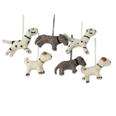 Wool ornaments, 'Barking Holiday' (set of 6) - Christmas Dogs Wool Felt Ornaments (set of 6)